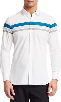 Saks Fifth Avenue Long Sleeve Tri-Color Striped Cotton Shirt