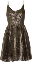 Isabel Marant Lilia pleated metallic silk-blend georgette mini dress