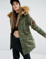 Alpha Industries Polar Parka Coat with Faux Fur Hood and Patches