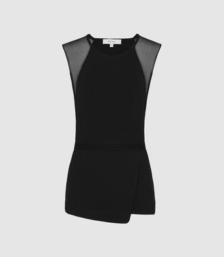 Reiss Anabel - Sheer Detail Sleeveless Top in Black