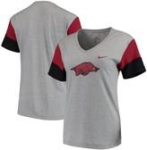 Nike Women's Heathered Gray/Cardinal Arkansas Razorbacks Breathe Team Sleeve Performance V-Neck T-Shirt