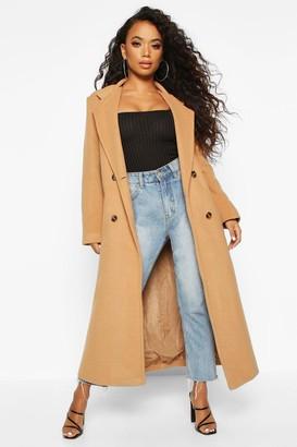 boohoo Petite Belted Double Breasted Wool Look Coat