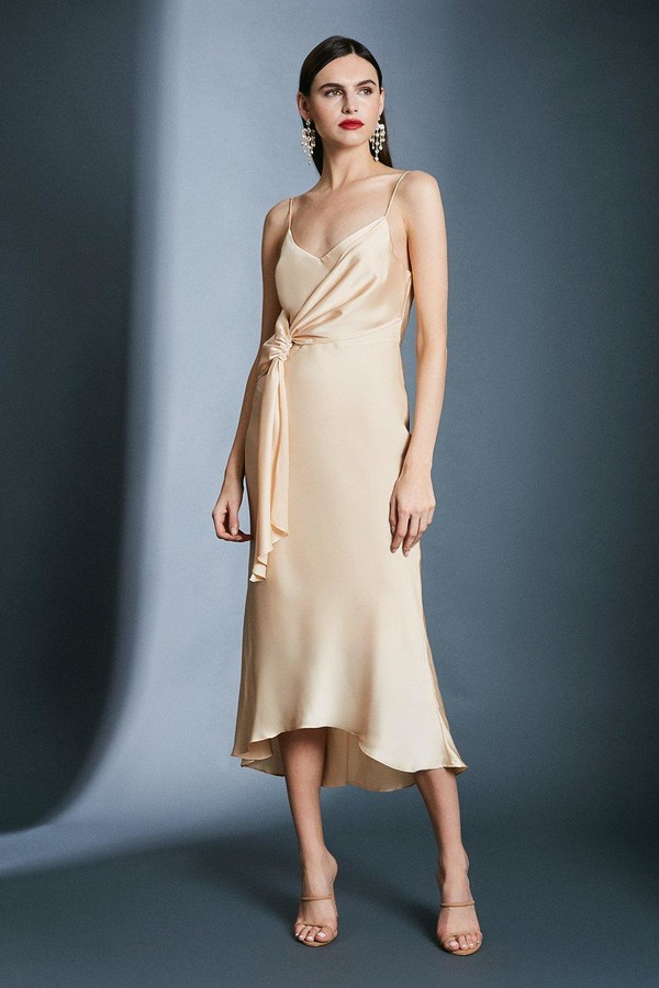 Karen Millen Satin Wrap Tie Waist Dress