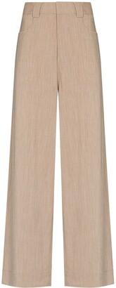 Ganni High-Waist Wide-Leg Trousers