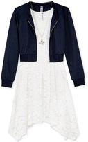 Beautees 2-Pc. Jacket, Lace Dress & Necklace Set, Big Girls (7-16)