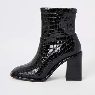 River Island Womens Black croc embossed heeled ankle boots