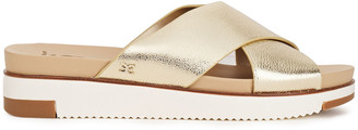 Sam Edelman Audrea Metallic Textured-leather Wedge Slides
