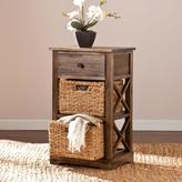 Southern Enterprises Doshie Wicker Basket Storage Cabinet in Antiqued Brown