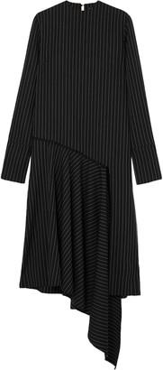 16Arlington Asymmetric Draped Pinstriped Twill Dress