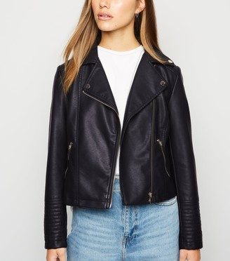 New Look Petite Leather-Look Quilted Biker Jacket