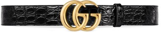 Gucci GG Marmont caiman belt with shiny buckle