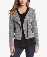 Karen Kane Faux-Leather-Trim Tweed Moto Blazer