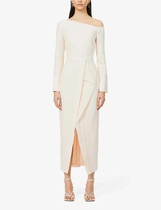 Roland Mouret Trevi one-shoulder wool-crepe midi dress