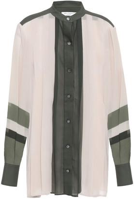 Equipment Pleated Color-block Georgette Blouse
