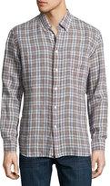 Billy Reid Tuscumbia Plaid Linen Shirt, Blue/Brown