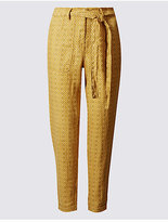 M&S Collection Pure Linen Printed Tapered Leg Trousers
