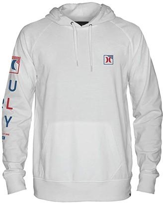 Hurley Icon Box Long Sleeve Hoodie (White) Men's Sweatshirt