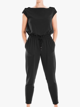 Max Studio Cap Sleeve Jersey Jumpsuit, Black
