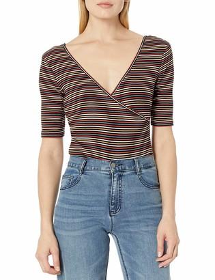 Volcom Women's Strype Hype Wrap Front Short Sleeve Bodysuit