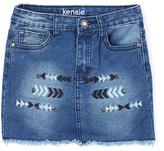 KensieGirl Medium Blue Denim Arrow-Accent Skirt - Girls