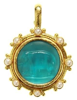 Elizabeth Locke Venetian Glass Intaglio 19K Yellow Gold & 3.5MM Pearl Swimming Pool 'Elephant' Pendant