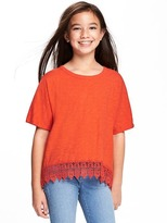 Old Navy Lace-Hem Scoop-Neck Tee for Girls