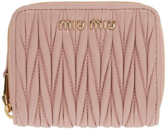 Miu Miu Pink Quilted Zip Around Wallet