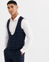 Gianni Feraud Slim Fit Wool Blend Blue Red Check Suit Waistcoat-Navy