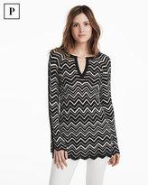 White House Black Market Petite Bell Split Sleeve Chevron Stitch Tunic Sweater