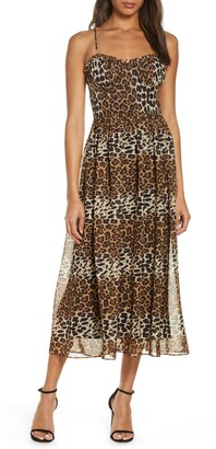 Katie May Daisy Leopard Print Chiffon Cocktail Dress