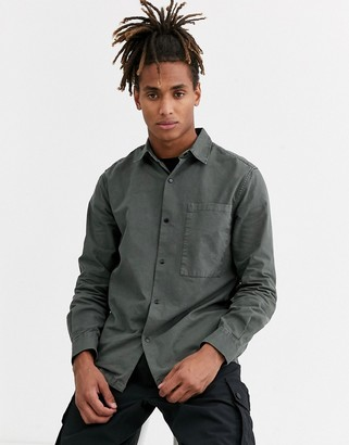 Topman long sleeve shirt with pocket in khaki-Green