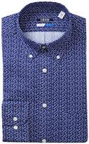 Izod Fish Pattern Regular Fit Dress Shirt