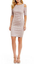 Jessica Howard Petite Cold-Shoulder Beaded-Neck Sheath Dress