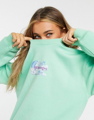 Daisy Street oversized sweatshirt with whoops print in pastel