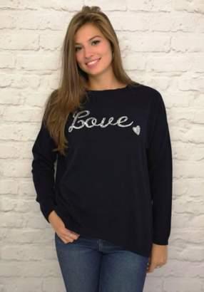 Luella Navy Cashmere Blend Love Sweater - one size