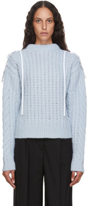 Cecilie Bahnsen Blue Wool and Alpaca Cable Knit Monse Sweater