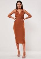 Missguided Rust Slinky Multiway Midi Dress