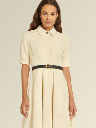 DKNY Donna Karan Women's Short Sleeve Button Front Dress - Buff - Size 14