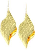"Devon Leigh Bold "" 18k -Dipped Double Leaf Drop Earrings with 14k -Filled Chains"
