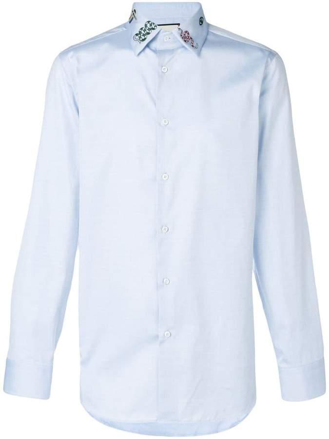 Gucci embroidered collar shirt