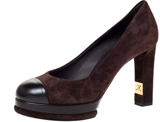 Chanel Brown Suede And Black Leather Cap Toe Platform Block Heel Pumps Size 37