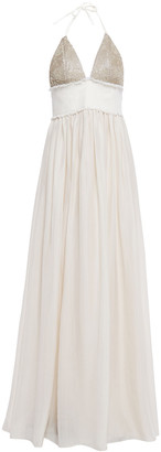 Brunello Cucinelli Twill-paneled Embellished Silk Halterneck Gown