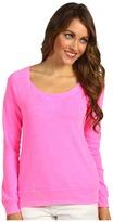 Splendid Slub Active Boat Neck Pullover (Neon Pink) - Apparel
