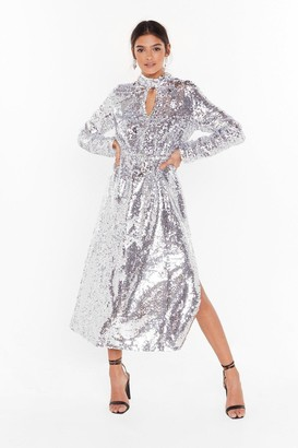 Nasty Gal Womens Head to Toe Icon Sequin Maxi Dress - Silver