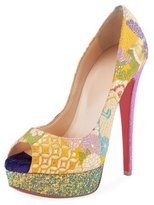 Christian Louboutin Lady Peep Embroidered Red Sole Pump
