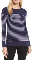 Women's Nordstrom Signature Long Sleeve Stripe Pocket Tee