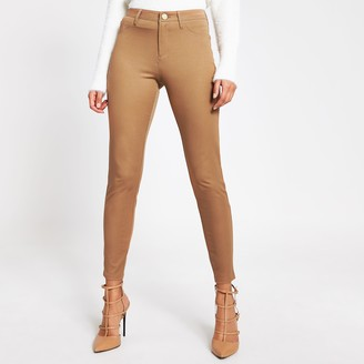 River Island Womens Beige Molly mid rise trousers