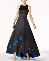 Betsy & Adam Cutout-Back High-Low Gown