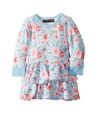 Rock Your Baby Pretty Flowers Long Sleeve Waisted Dress (Infant)