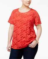 INC International Concepts Plus Size Floral Lace Top, Only at Macy's